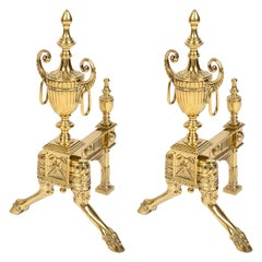 Pair of 19th Century Classical Adam Style Brass Andirons