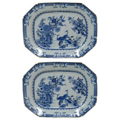 Chinese Canton Porcelain Blue White Plates Chargers Qianlong, 18th Century, Pair