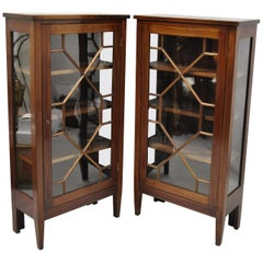 Pair of Crotch Mahogany Inlaid Edwardian Glass Display Cabinet Curio Bookcases