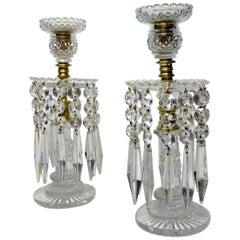 Pair English Regency Ormolu Bronze Candlesticks Crystal Lustres Atrb John Blades