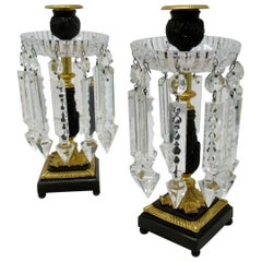 Pair of English Regency Ormolu Bronze Doré Crystal Candlesticks Lustres