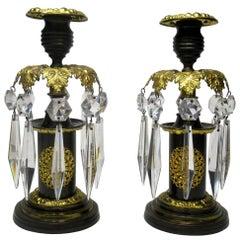 Pair of English Regency Ormolu Bronze Lusters Candlesticks, 19th Century