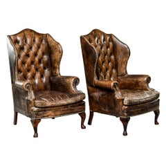 Pair of English Tufted Armchairs in Original Leather with Brass Nail Heads