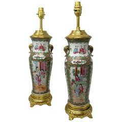 Famille Rose Medallion Canton Cantonese Ormolu Mounted Chinese Table Lamps, Pair