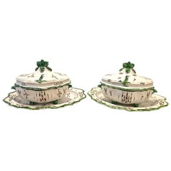 Pair of French Faience Soup Tureens with Under Plates, 19th Century