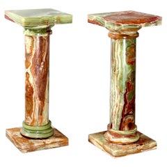 Pair Green Onyx Classical Doric Greek Column Sculpture Display Pedestals, 20th C