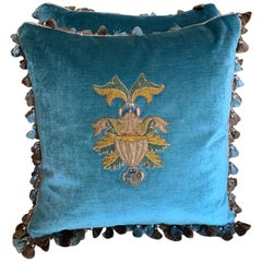 Pair of 18th Century Appliqué Pillows by Melissa Levinson