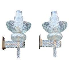 Pair of 1930 Appliqué Attributed to Venini Carlo Scarpa Diamante Glass Brass