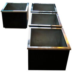 Pair of 1960s-1970s Black Enamelled and Chrome Cubic Planters