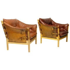 """Pair of 1960s Leather """"Ilona"""" Safari Lounge Chairs by Arne Norell"""