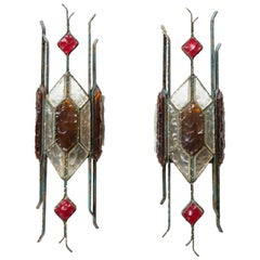 Pair of 1970s Italian Brutalist Sconces Color Glass Italian Design by Longobard