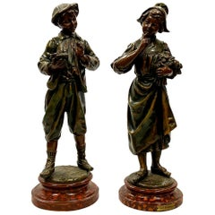 Pair of 19th Century Bronzed Statues of a Dutch Lovers
