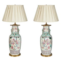 Pair of 19th Century Chinese Famille Rose Vase/Lamps