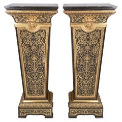 Pair of 19th Century French Boulle Inlaid Pedestals