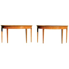Pair of 20th Century Satinwood and Inlaid Demilune Adam Style Console Tables