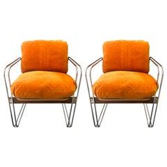 "Pair of American Modern ""Ascona"" Chrome/Walnut Chairs, Heinz Meier for Landes"