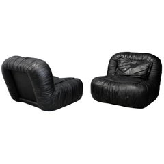 Pair of Amrchairs by De Pas, D'urbino and Lomazzi in Leather Black, 1970s