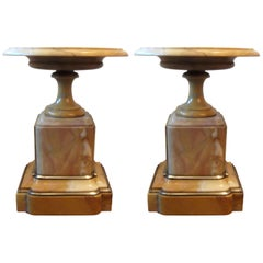 Pair of Antique 19th Century French Sienna Marble Garniture Tazza Compotes