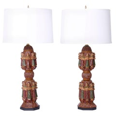 Pair of Antique Indian Carved and Painted Table Lamps from Antique Bed Posts