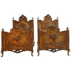 Pair of Antique Italian Painted Venetian Beds