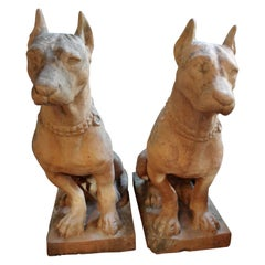 Pair of Antique Italian Terracotta Dog Statues