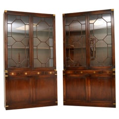 Pair of Antique Military Campaign Style Mahogany Bookcase