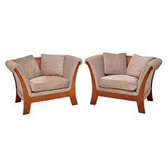 Pair of Antique Swedish Burr Walnut Armchairs