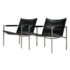 Pair of Armchairs in Black Leather by Martin Visser