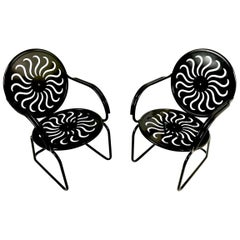 Pair of Art Deco Garden Patio Porch Lounge Chairs Newly Powder Coated