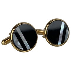 Pair of Art Deco Style Cufflinks-Onyx & Mother of Pearl in a Gold Filled Setting