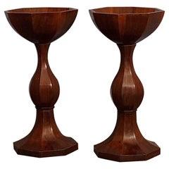 Pair of Biedermeier Round Octagonal Walnut Wood Plant Stand, 1830