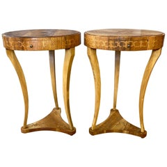 Pair of Biedermeier Style Italian Marquetry Side Tables, 1940s