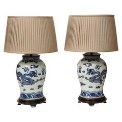 Pair of Blue and White Chinese Export Lamps