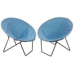 Pair of Blue Outdoor Hoop Chairs