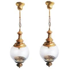 Pair of Brass Lantern and Engraved Crystal Globe, Italy, 1950s.Midium Size 20cm