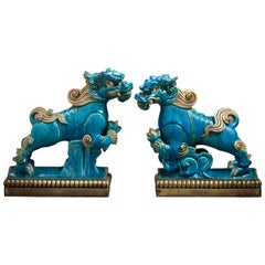 Pair of Bronze Mounted Ming Dynasty Dragon Roof Tiles, circa 1650