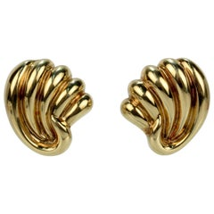 Pair of Bucherer 18 Karat Gold Fan Shaped Clip Earrings