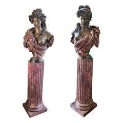 Pair Bust Depicting Summer & Spring Sculptures Statues on Pedestals LA Antiques