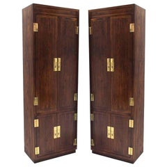 Pair of Campaign Style Tall Fitted Cabinets by Henredon