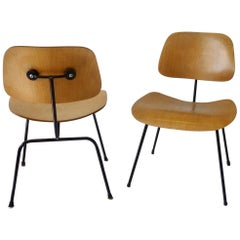 Pair of Charles and Ray Eames Metal Leg Dining Chairs DCM for Herman Miller