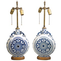 Pair of Chinese Blue and White Moon Flask Lamps, circa 1920