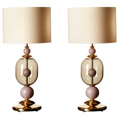 Pair of Clear and Pink Murano Glass and Brass Table Lamps