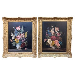 Pair of Continental School Floral Still Life Paintings on Copper