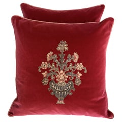 Pair of Custom Metallic and Chenille Applied Velvet Pillows by Melissa Levinson