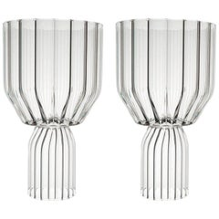 EU Clients Pair of Contemporary Large Goblet Cocktail Glass Handcrafted in Stock