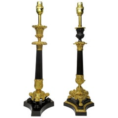 Pair of Dore Bronze Neoclassical Ormolu Table Candlestick Lamps, 19th Century