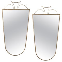 Pair of Elegant Italian Brass Wall Mirrors, circa 1950