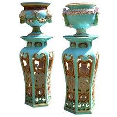 Pair of Extremely Rare Majolica Signed Minton 1871 England