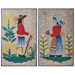 Pair of Folk Art Mosaic Tile Paintings Man and Woman