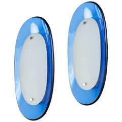 Pair of Fontana Arte Blue Glass Oval Sconces, 1960s